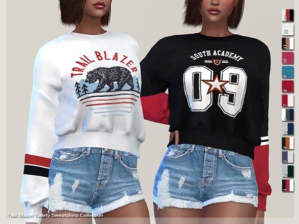 Sims 4 Set Trail Blazer Sporty Sweatshirts and Kiomi Jeans by Pinkzombiecupcakes at TSR