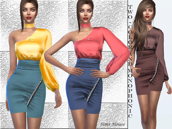 Sims 4 Dress with one sleeve by Sims House at TSR