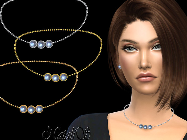 Sims 4 Moonstone charm necklace by NataliS at TSR