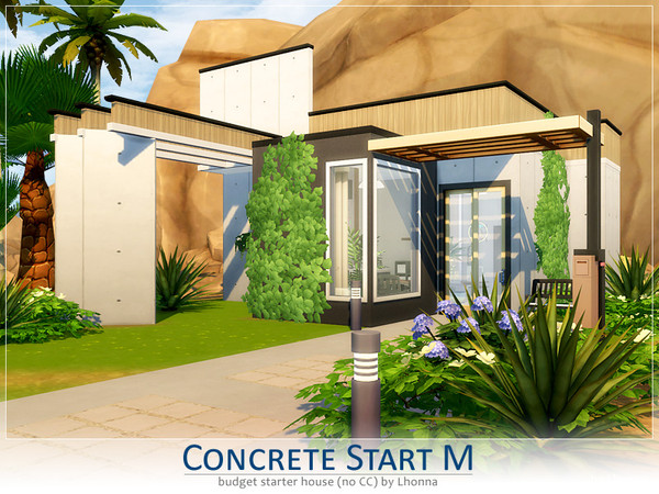 Sims 4 Concrete Start M contemporary starter home by Lhonna at TSR