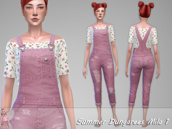 Summer Dungarees Mila 1 by Jaru Sims at TSR image 946 Sims 4 Updates