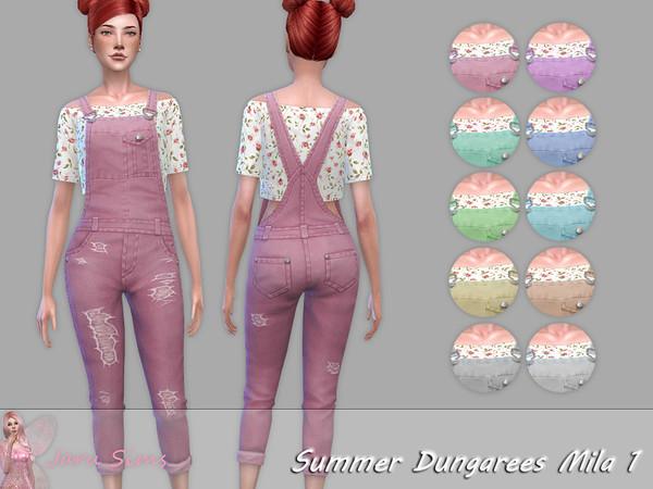 Summer Dungarees Mila 1 by Jaru Sims at TSR image 956 Sims 4 Updates