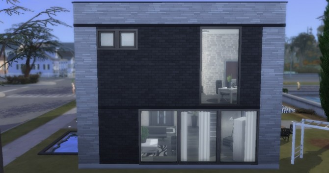 Monochrome Modern house by NoteCat at Mod The Sims » Sims 4