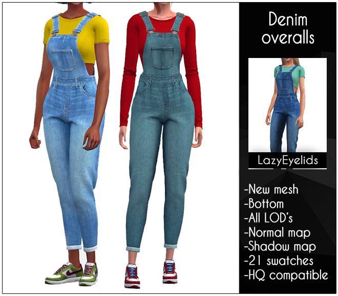 Sims 4 Denim overalls at LazyEyelids