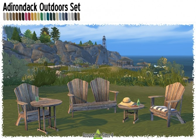 Sims 4 Adirondack Outdoors set by Sandy at Around the Sims 4