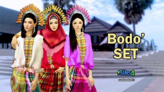 Sims 4 Hijab Model 056, Bodo set & Fish Dress with Slogan Shawl at Aan Hamdan Simmer93