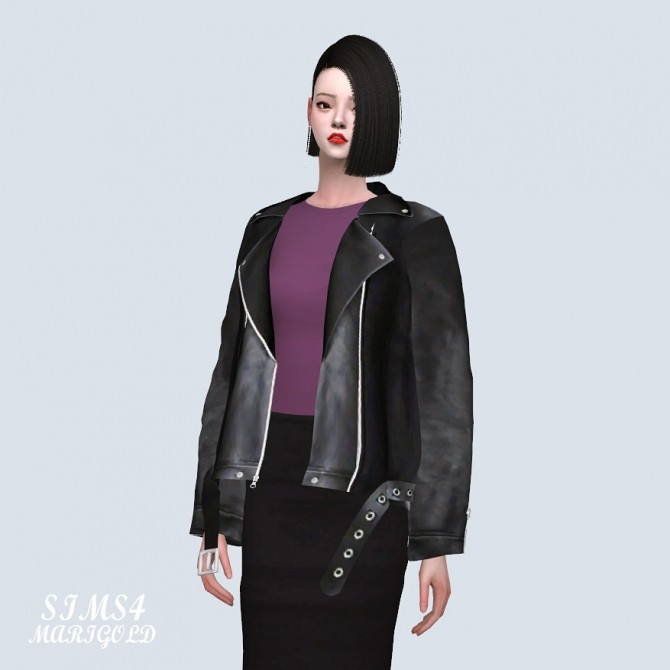 Sims 4 Loose fit Leather Jacket With T (P) at Marigold