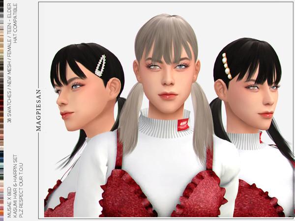 Sims 4 Kasumi Hair SET by magpiesan at TSR