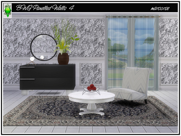 Sims 4 BWG Panelled Walls by marcorse at TSR