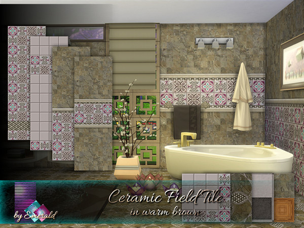 Ceramic Field Tile in warm brown by emerald at TSR image 1127 Sims 4 Updates