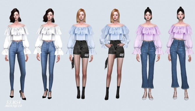 Spring Lovely Off Shoulder Crop Blouse (P) at Marigold image 1162 670x384 Sims 4 Updates