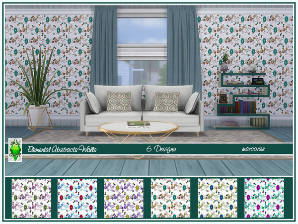 Sims 4 Elemental Abstracts Walls by marcorse at TSR
