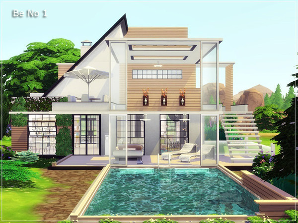 Sims 4 Be No 1 modern house by marychabb at TSR