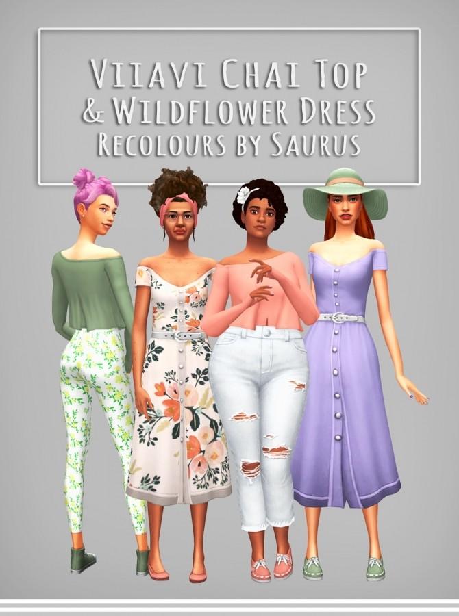 Sims 4 Viiavi's Chai Top & Wildflower Dress Recoloured at Saurus Sims