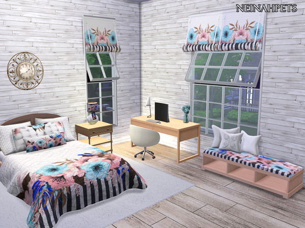 Sims 4 Modern Floral Bedroom by neinahpets at TSR