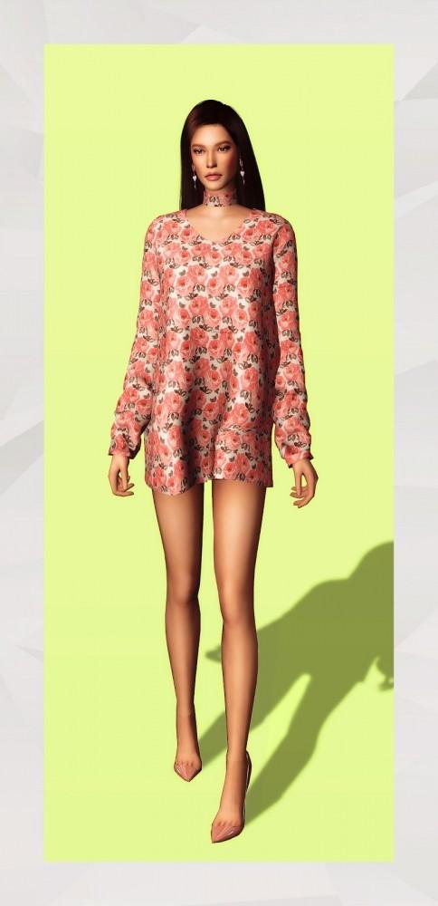 Choker Neck Dress (improve) at Gorilla image 1334 484x1000 Sims 4 Updates