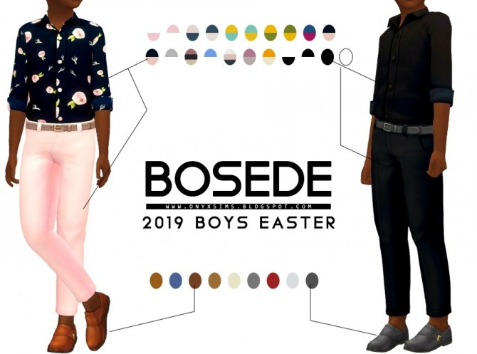 Sims 4 Easter 2019 Bosede outfit and shoes CM at Onyx Sims