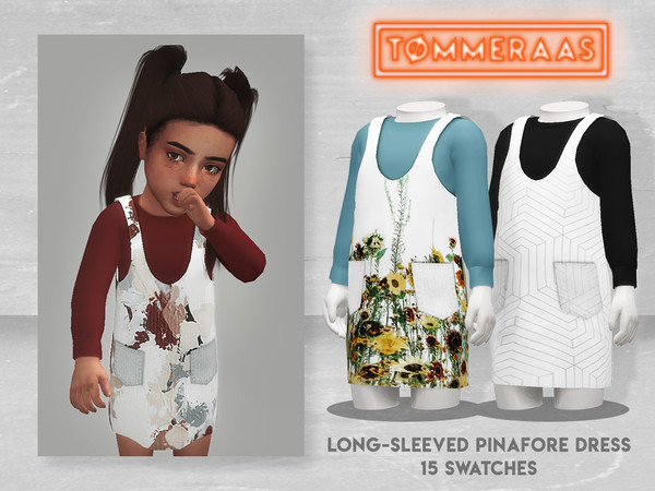 Sims 4 Long Sleeved Pinafore Dress by TØMMERAAS at TSR