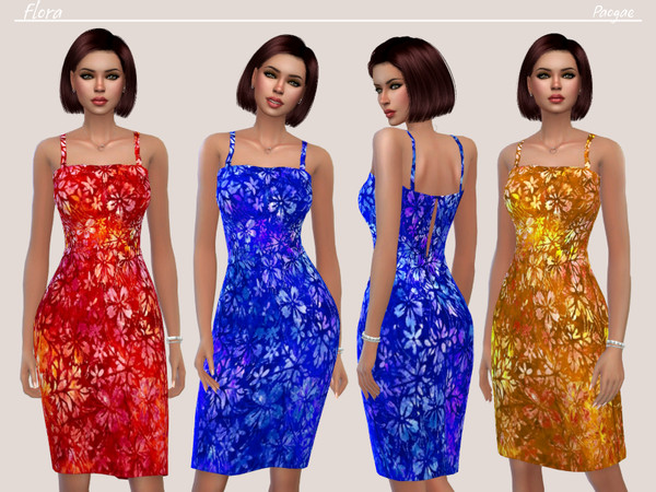 Sims 4 Flora Cool little dress with straps by Paogae at TSR