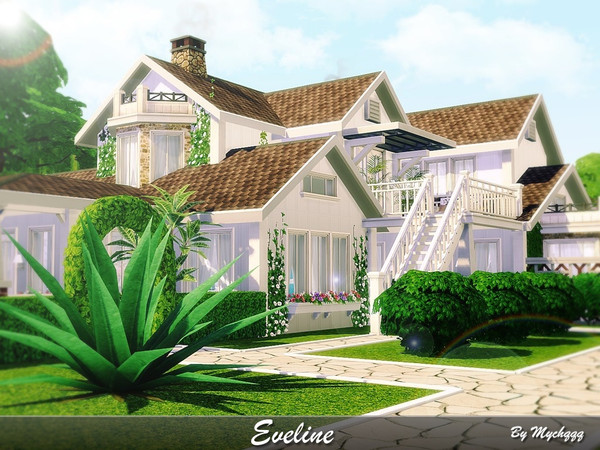 Sims 4 Eveline house by MychQQQ at TSR
