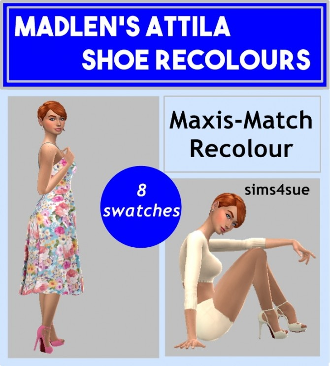 Sims 4 MADLEN'S ATTILA SHOES RECOLOUR at Sims4Sue