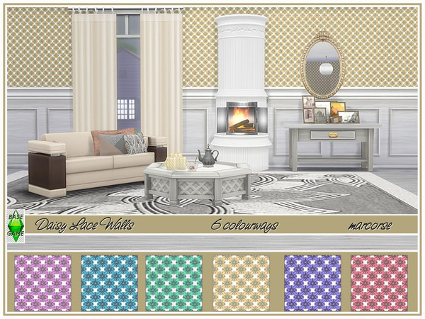 Sims 4 Daisy Lace Walls by marcorse at TSR