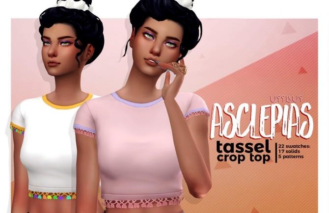 Sims 4 ASCLEPIAS tasseled crop top at Viiavi