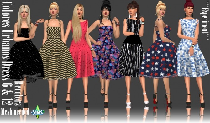 Sims 4 Colores Urbanos Dress 6 & 12 Recolors at Annett's Sims 4 Welt