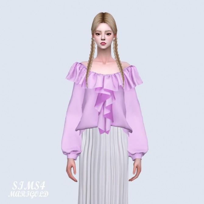Sims 4 Spring Frill Off Shoulder Blouse (P) at Marigold