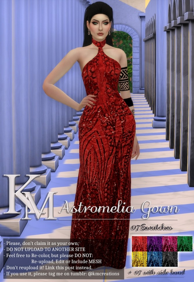 Sims 4 Astromelia Gown by Katarina at KM