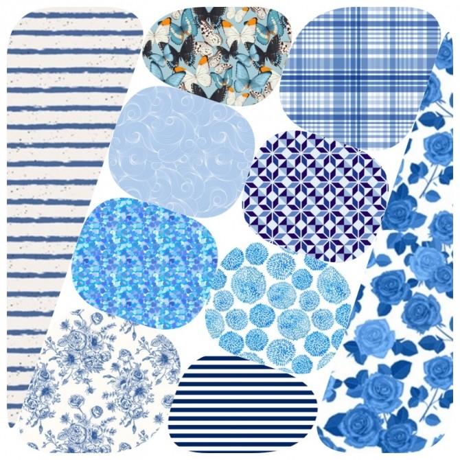Sims 4 Collection 90 Blue Pattern at Annett's Sims 4 Welt
