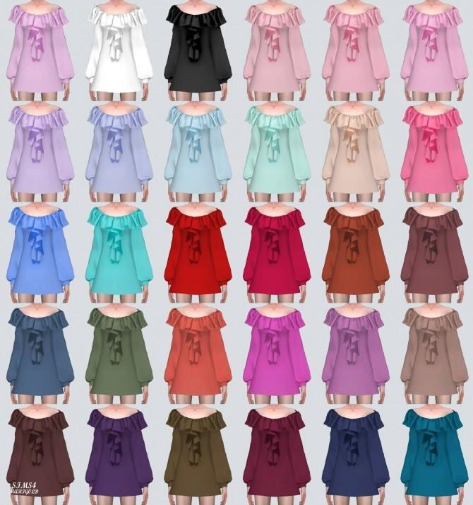 Sims 4 Spring Off Shoulder Frill Mini Dress (P) at Marigold