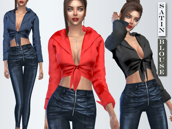 Sims 4 Long Sleeve Silk Blouse by Sims House at TSR