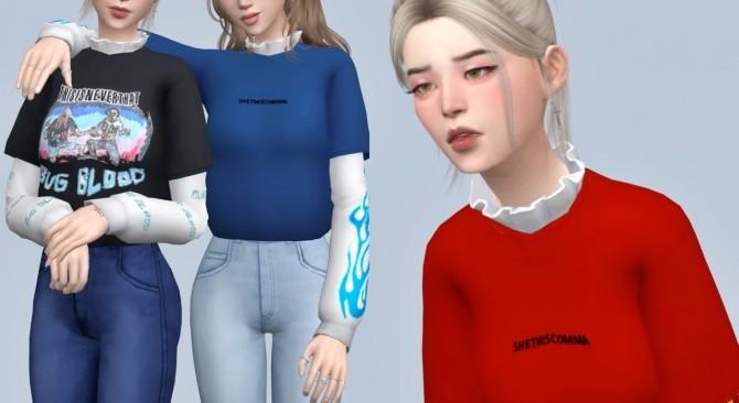 Layered ruffle shirt at Casteru image 2005 670x366 Sims 4 Updates