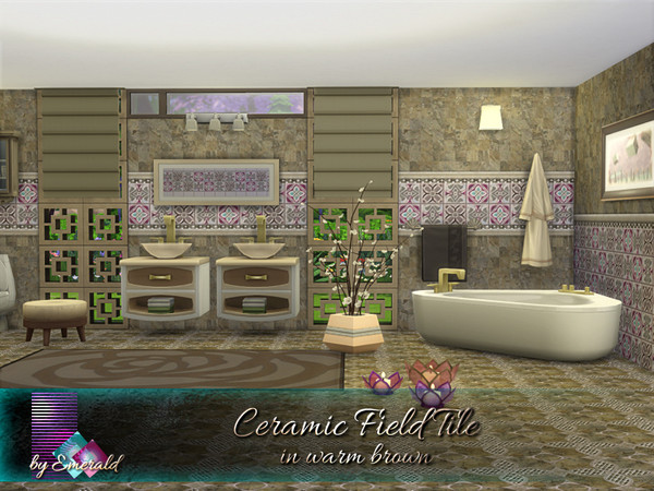 Sims 4 Ceramic Field Tile in warm brown by emerald at TSR