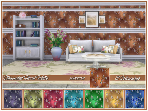 Sims 4 Illuminated Florals Walls by marcorse at TSR