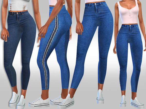 Sims 4 Designer Strip Line Jeans by Saliwa at TSR