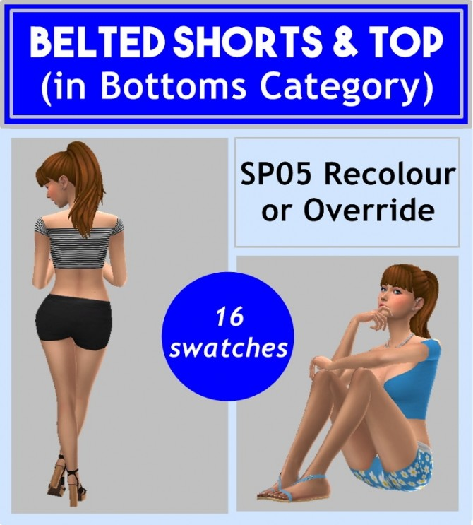 Sims 4 SP05 BELTED SHORTS & TOP at Sims4Sue