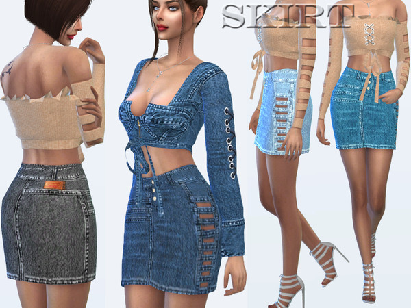 Sims 4 Denim skirt with cuts by Sims House at TSR