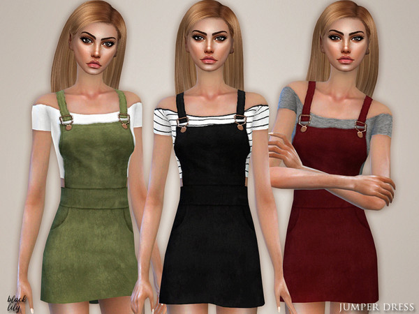 Sims 4 Jumper Dress by Black Lily at TSR