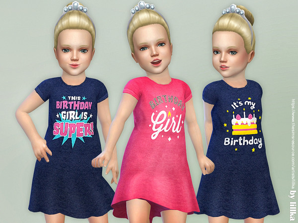 Sims 4 Toddler Birthday Dress by lillka at TSR