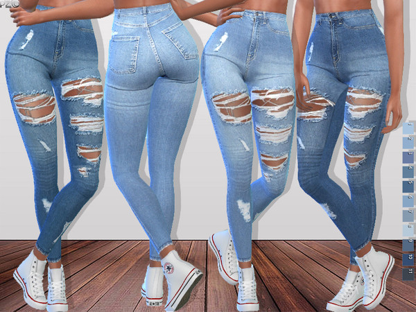 Sims 4 Denim Ripped Jeans 093 by Pinkzombiecupcakes at TSR