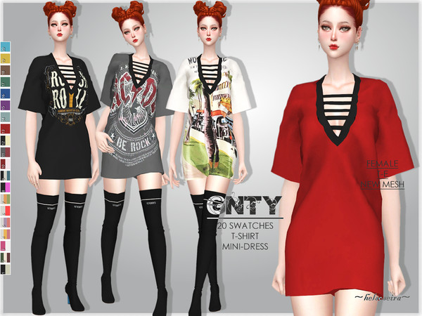 Sims 4 GNTY T Shirt Dress by Helsoseira at TSR