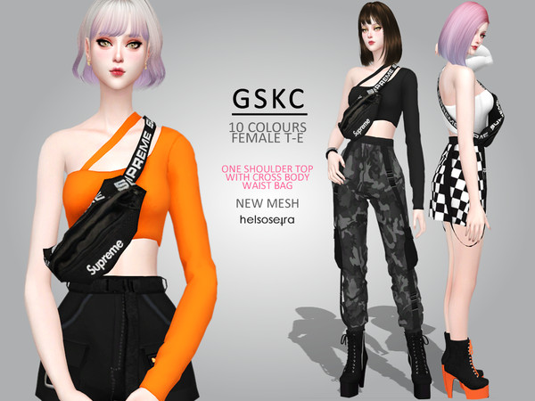 Sims 4 GSKC One shoulder top w/ bag by Helsoseira at TSR