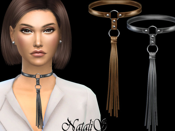 Sims 4 Leather tassel choker by NataliS at TSR