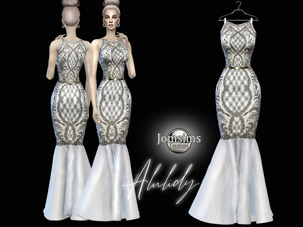 Sims 4 Alulidy high fashion evening dress by jomsims at TSR