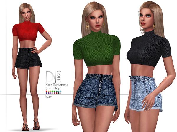 Sims 4 Knit Turtleneck Short Top by DarkNighTt at TSR