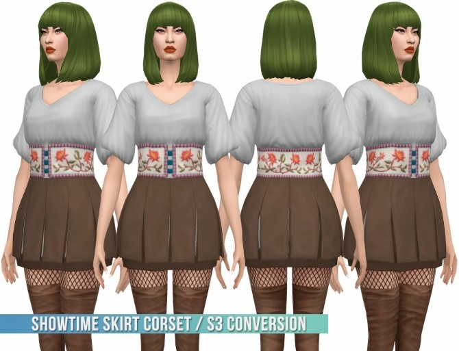 Sims 4 Showtime Skirt Corset S3 Conversion at Busted Pixels