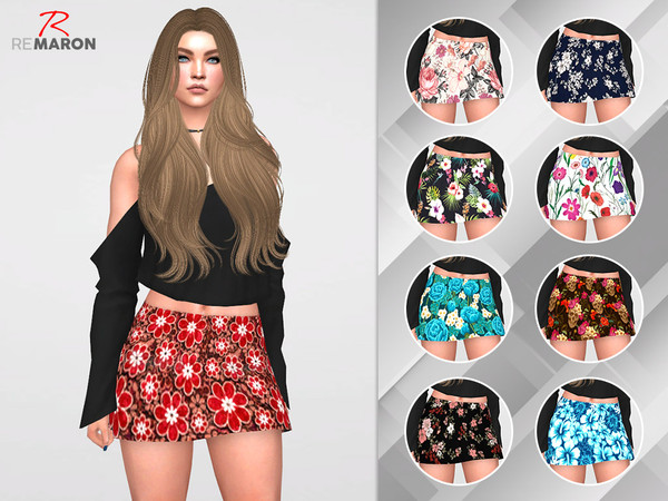 Sims 4 Skirt floral for women by remaron at TSR