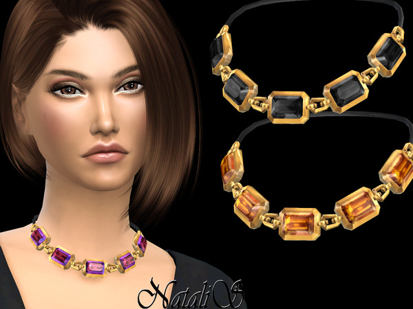 Sims 4 Octagon crystals necklace by NataliS at TSR